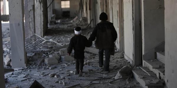 Zona bombardata in Siria